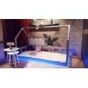 Łóżko domek z barierkami Bella w stylu skandynawskim LED, Bluetooth