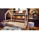 Łóżko domek z barierkami Lisa w stylu skandynawskim