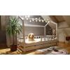 Łóżko domek z barierkami Bella w stylu skandynawskim z szufladą