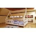 Łóżko domek drewniane dla dzieci z barierkami TIPI naturalne