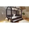 Łóżko domek z barierkami Bella w stylu skandynawskim z drugim łóżkiem