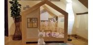 Łóżko domek z barierkami Cynia w stylu skandynawskim