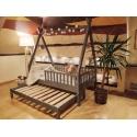 Łóżko domek drewniane dla dzieci z barierkami + drugie spanie TIPI naturalne