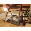 Łóżko domek drewniane dla dzieci z barierkami, drugim spaniem i szufladami TIPI naturalne