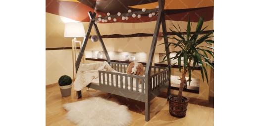 Łóżko domek drewniane dla dzieci TIPI 5 Naturalny