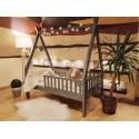 Łóżko domek drewniane dla dzieci z barierkami i nóżką 20 cm TIPI malowane