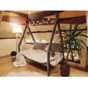 Łóżko domek drewniane dla dzieci z nóżką 20 cm TIPI naturalne