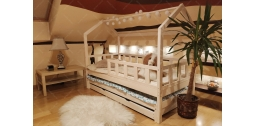 Łóżko domek Bella z Barierkami, Szufladą i drugim spaniem